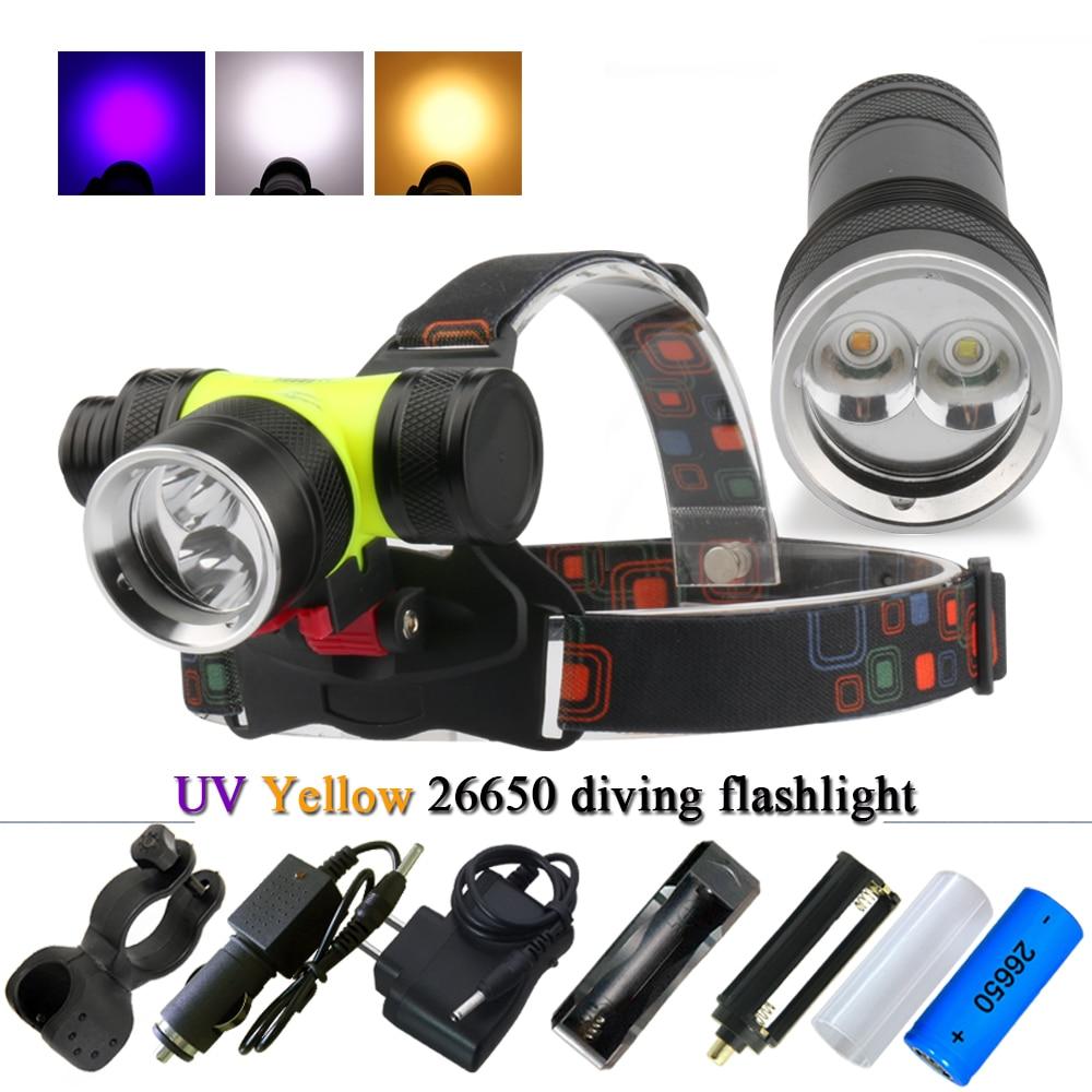 Tauchen taschenlampe uv high power wiederaufladbare led taschenlampen unterwasser licht tauchen licht scheinwerfer kopf taschenlampe angeln fahrrad