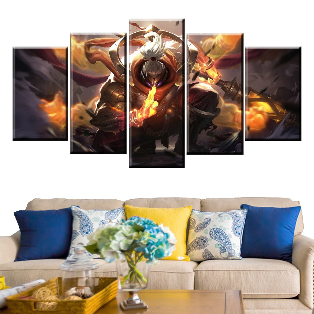 5 Panel LOL League of Legends Jax Game Canvas Printed Painting For Living Room Wall Art Decor Modern HD Picture Artworks Poster in Painting Calligraphy from Home Garden