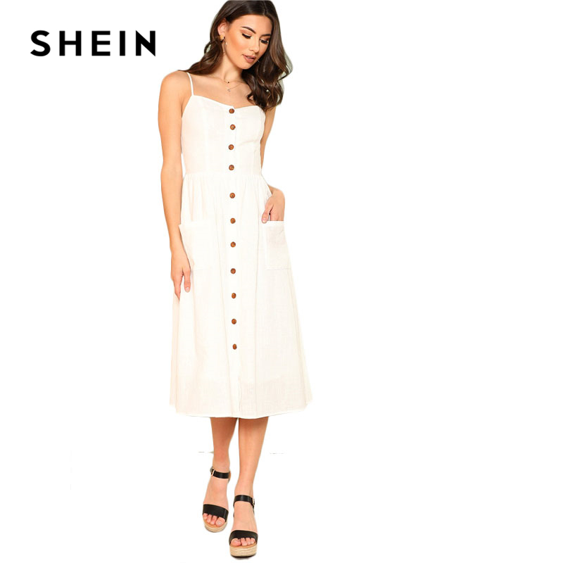 d1cf952809 SHEIN White Pocket Patched Button Up Cami Dress Women Spaghetti Strap  Sleeveless Plain Dress 2018 Summer Beach Boho Dress-in Dresses from Women s  Clothing ...