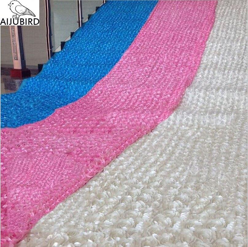 Рулон 10 метров ковровой дорожки из розовой ткани, цветочная ткань для вечеринки, Декорации для стола, свадебного платья, сделай сам, декорац