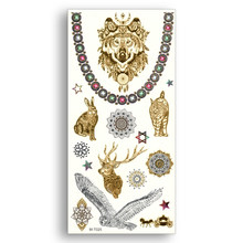 Temporary Fake Gold tattoos Waterproof Water Transfer Stickers Wolf Rabbit Deer Bird OWL Cat Women Sexy Beauty Body Art(China)