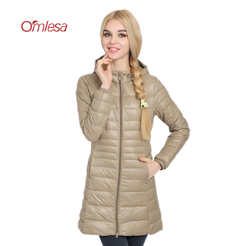 OMLESA Ultra Light   Down     Coats   2017 New Autumn Winter Jacket Women 6XL Duck   Down   Parka hooded Long Slim Plus Size Overcoat YQ111