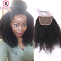 Afro Kinky Curly Lace Closure Natural Curly Human Hair Closure Free Middle Three Way Part Mongolian Kinky Curly Lace Top Closure