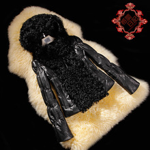 2013 Fashion Ladies' Genuine leather coat,Unique quality women's sheepskin jacket,Genuine fur down coat free shipping FG109