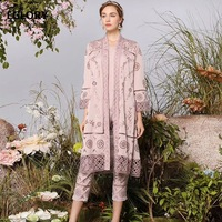 Top Grade Designer Clothing Sets 2019 Spring Fashion Long Cardigan Jackets+Hollow Out Embroidery Pants & Capris Set Suit Female