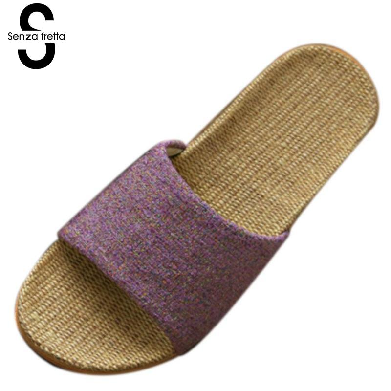 Senza Fretta Summer New Women Home Linen Slippers Thick Bottom Non-slip Indoor Lover Women Men Slippers Casual Indoor Slippers mashimaro new arrival men s linen slippers cotton fabric hemp slippers beach non slip indoor slippers men s fashion slippe