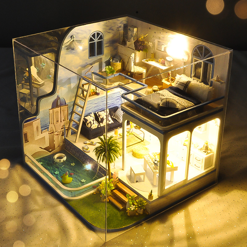 Christmas Gifts Doll House With Furniture Dust Cover Wooden Miniatura Doll Houses Miniature Dollhouse Toy Birthday Gift TD17 свитшот mango kids mango kids ma018ebvfq77