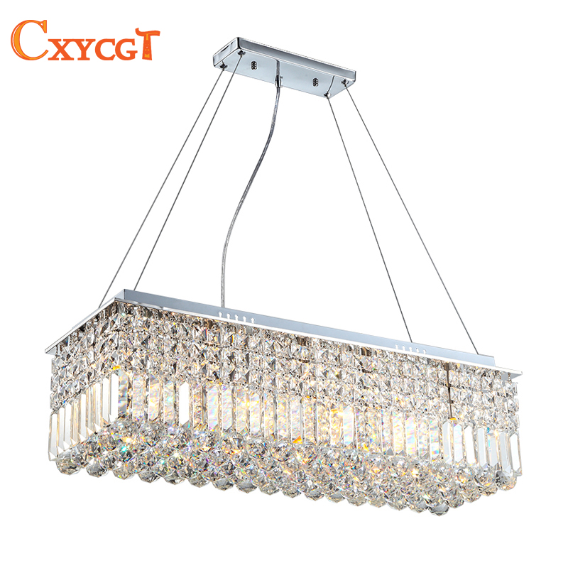 Long Size Rectangle Crystal Pendant Light Fitting Crystal chandelier ceiling suspension lamp for dining room, bedroom, meetin