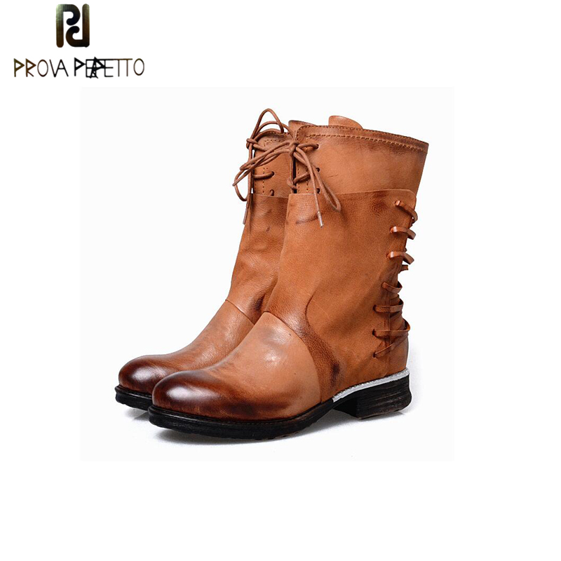 Prova Perfetto Old Vintage Women Boots Autumn Winter Leather High-end Quality Combat Knight British Style Booties big size 42