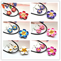 AMGJ Wholesale Lots 6Sets Polymer Clay flower leather chain Jewelry Sets Plumeria Hawaii Rhinestone pendant Necklace Earrings