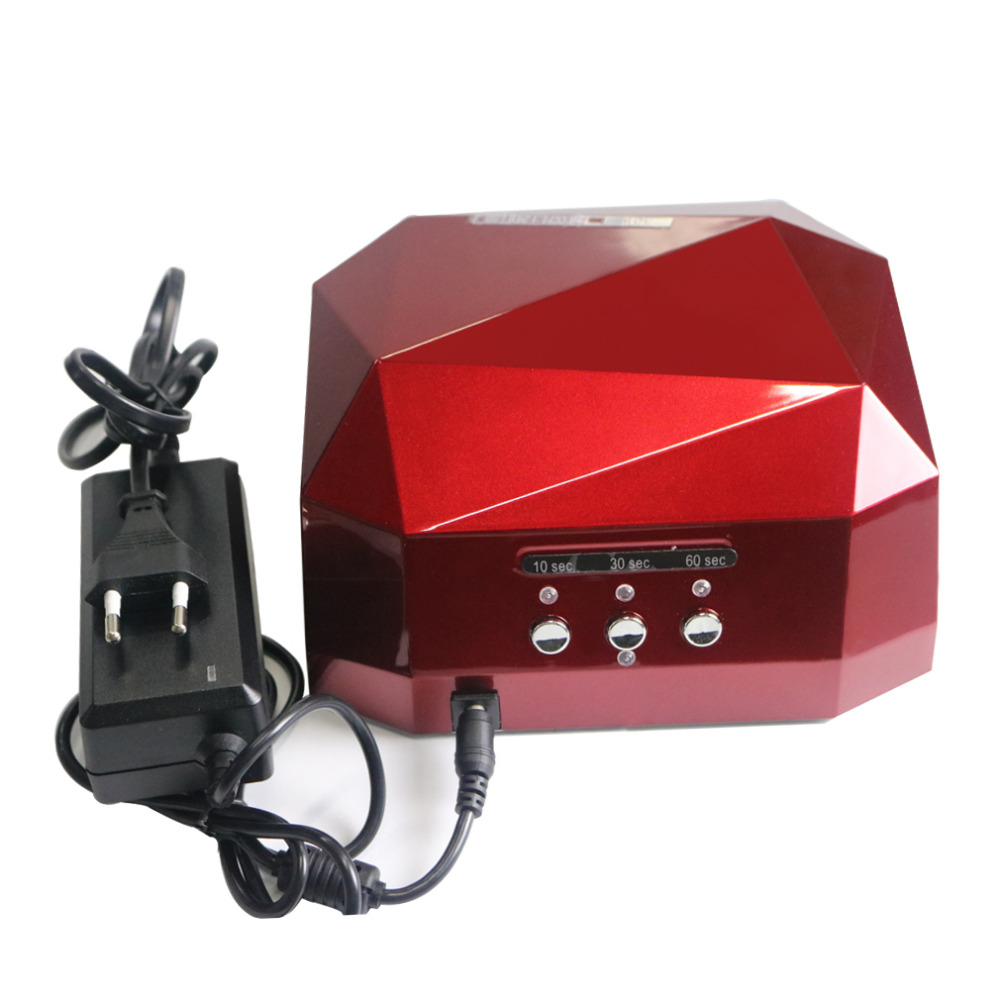 GEL LAB CCFL LED Nail Curing Lamp Dryer Diamond Shaped for Nail Art 36W Gel Nail Polish 3 Timers LED Ultraviolet Lamp RED
