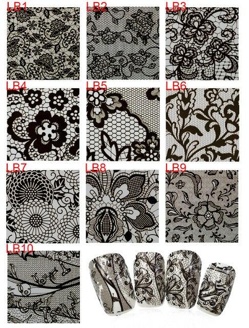 1 Rolo de 500 m NOVO 10 Designs Sexy Preto Flores Completa Dicas Etiqueta do Prego Transferência Arte Frustra Adesivo DIY Decoração atacado LB01-10