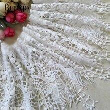 Bordado de 20cm de largura, branco e preto, bordado oco, solúvel em água, tecido de renda para faça você mesmo, artesanato de costura
