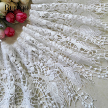 100*20cm White and black tassel lace trim hollow water-soluble embroidery fabric For DIY Sewing Craft