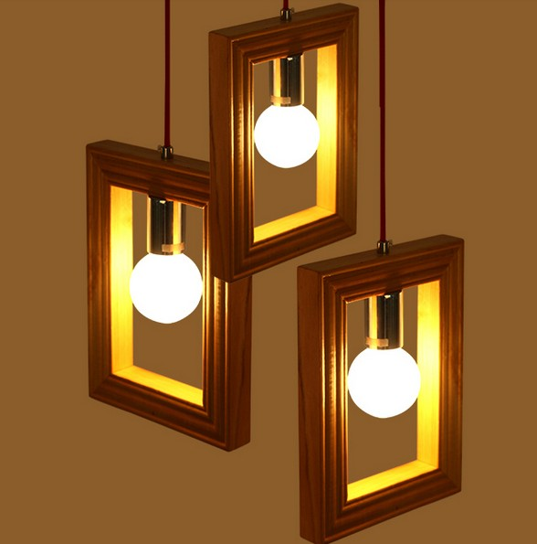 American Village Creative Wooden Frame Droplight Modern LED Pendant Light Fixtures For Dining Room Hanging Lamp Indoor Lighting denmark antique pinecone ph artichoke oak wooden pineal modern creative handmade wood led hanging chandelier lamp lighting light