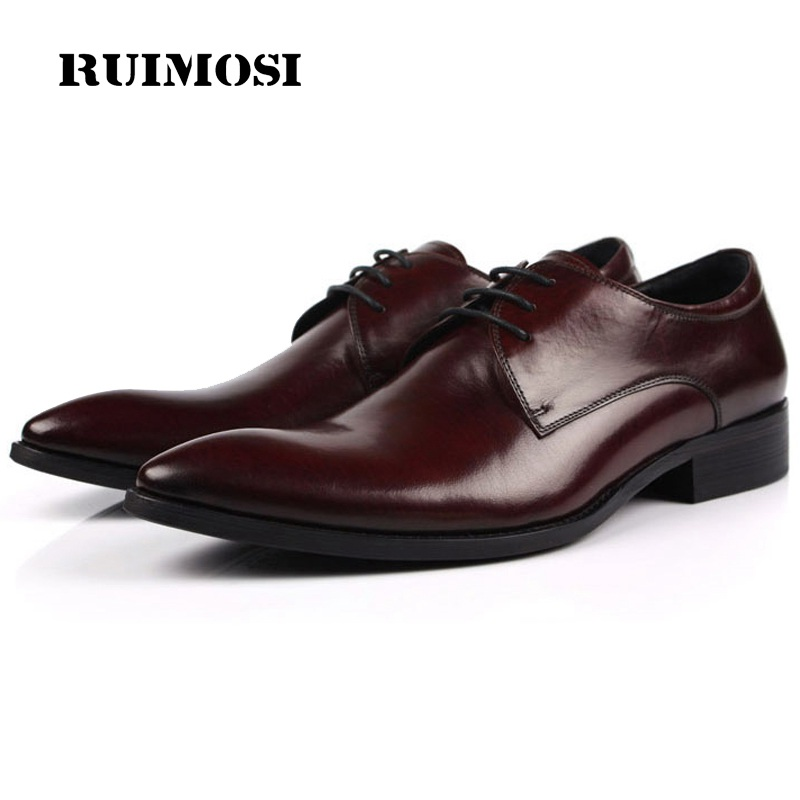 RUIMOSI New Italian Luxury Brand Pointed Toe Man Formal Dress Shoes Genuine Leather Male Oxfords Men's Derby Bridal Flats IH34