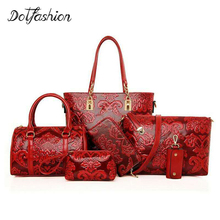 Women Bags Set 6 pcs Chinese Style Bag Handbag Lady Shoulder Bag Tote Purse Women Bolsa