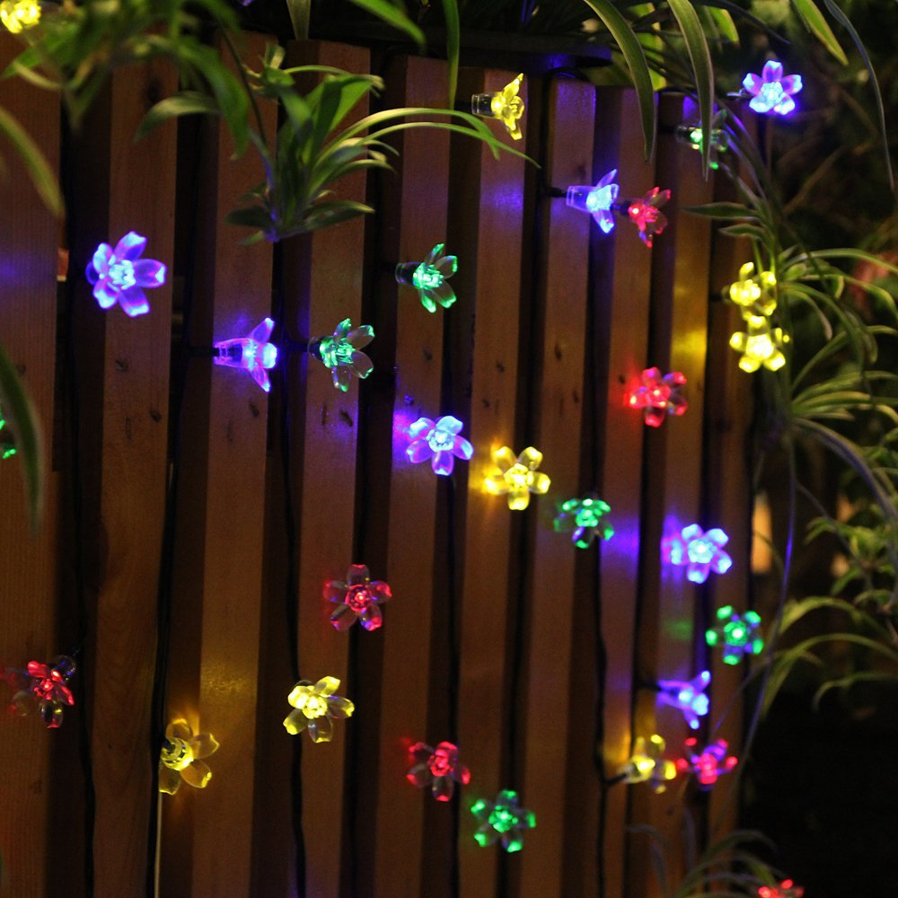 Muti Color Solar Led Fairy Lights Outdoor Party Wedding Decoration Lantern  50 Led String Lights Peach Flower Christmas Lights In Lighting Strings From  ...