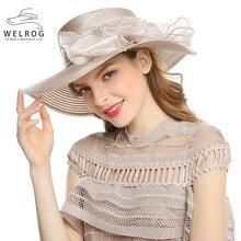 c8d567592fe2b WELROG mujeres arco Floral sol proteger sombreros de Iglesia elegante dama  caqui Sinamay sombreros de verano plegable transpirab.