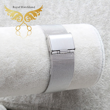 12mm 14mm 16mm 18mm 20mm 22mm 24mm Silver Mesh Watch Band Watch Bracelet Strap Flip Lock