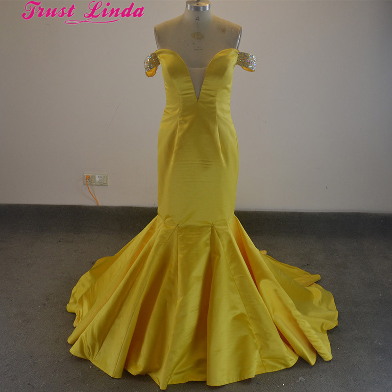 Real Photo Beading Shoulder Yellow Satin Mermaid   Bridesmaid     Dresses   Pleat Long Party   dresses   Long Train Custom Made Prom Gowns