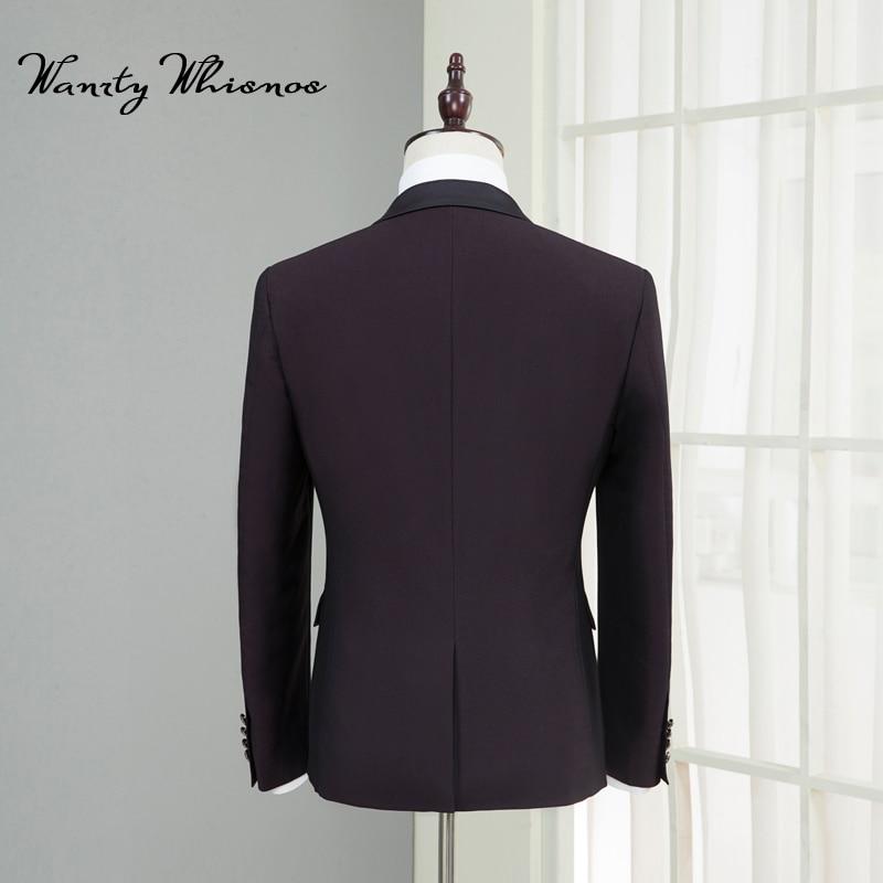 Blazers Boutons Mens Hommes Deux D'affaires Costume veste Slim Bourgogne Luxe Mâle Fit Classique Qualité Pantalon Cravate Haute Costumes De IqwxxT17H