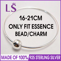 LS High Quality ESSENCE Collection 100% 925 Sterling Silver Bangle Silver Jewelry Charm Bracelets Women Fashion DIY Jewelry W
