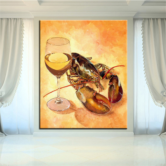 Large size Printing Oil Painting white wine and tails Wall painting ...