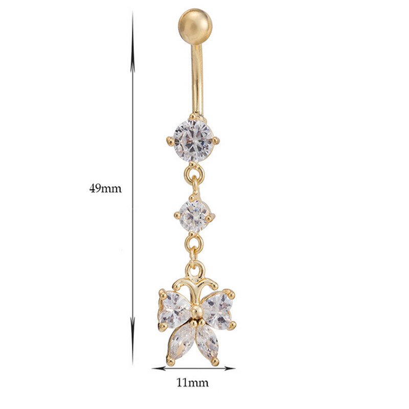 Chic Erfly Cz Piercings Jewelry Womens Y Belly On Ring Long Dangle Clear Navel Bar Gold Body Piercing In From