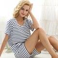 Marinha verão tarja clássico 100% algodão confortável de manga Raglan das mulheres de manga curta Sleepwear calças de pijama salão Twinset