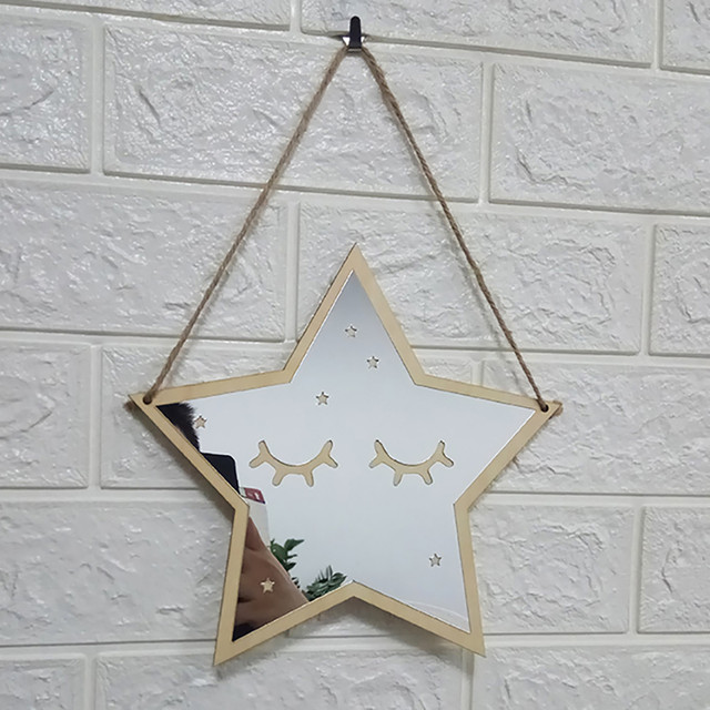 Children Cartoon Decorative Mirror Bathroom Baby Room Rabbit Star Wood Acrylic Mirror Frame Creative Home Art Wall Decorations
