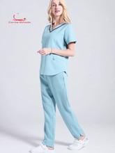 Operating dress womens short-sleeved surgical suit oral beauty pet hospital doctors wear nurses work clothes split