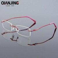 2018 Détail 2 couleurs mode femmes lunettes sans monture cadres mode mémoire titane lunettes cadres prescription optique cadres