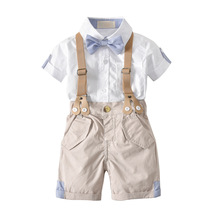Toddler Boys Clothing 2018 Summer Suspender Trousers Bow Gentleman Short Shirt Shorts 2pcs/set 1 2 3 4 Year Baby Boy Clothes