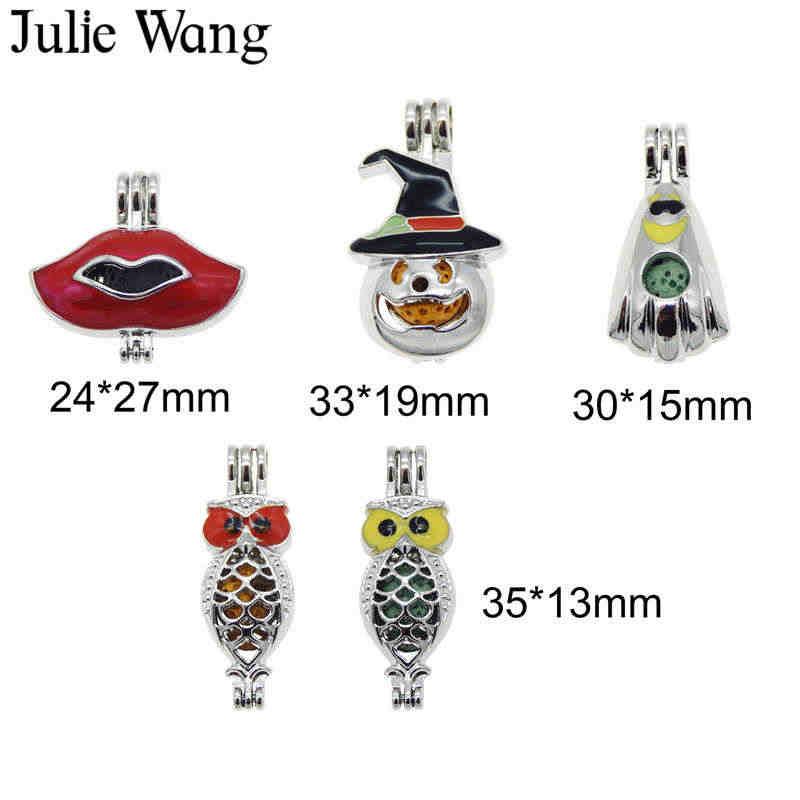 Julie Wang 5 ชิ้นโลหะผสมเคลือบริมฝีปากฟักทอง Ghost Owl Pearl ลูกปัด Cage Essential Oil Diffuser สร้อยคอจี้สร้อยคอเครื่องประดับ