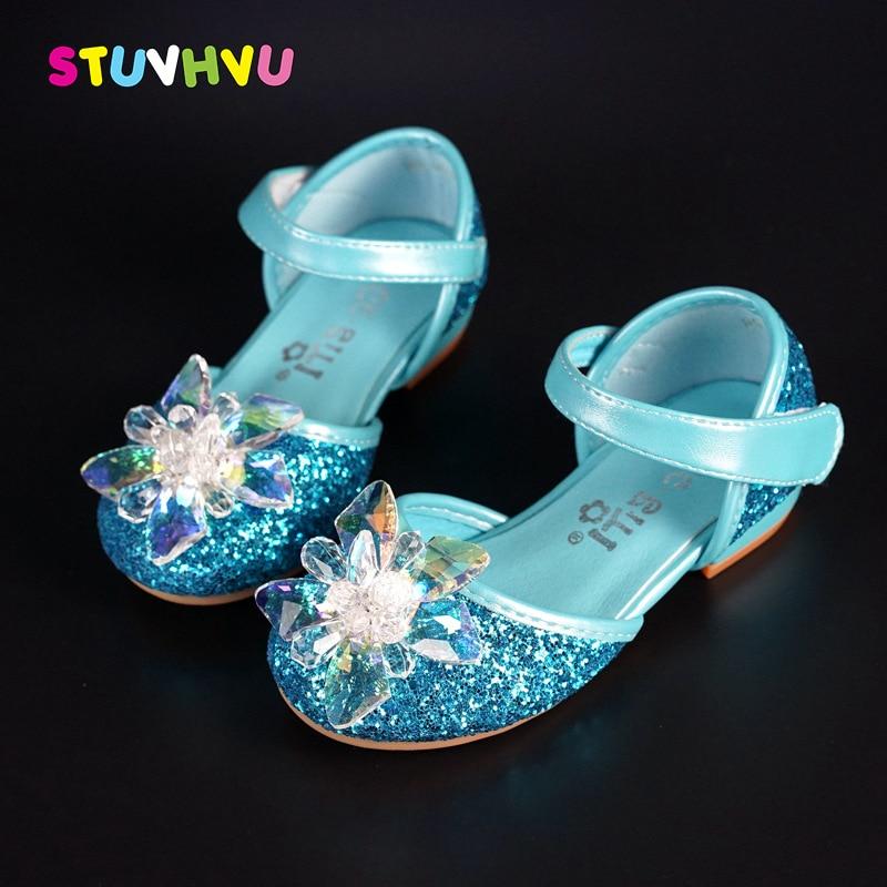 Girls Summer Sandals Children Shoes Fashion Brand Design Girl Transparent Crystal Shoes Princess Square Heels Sandals 998-18