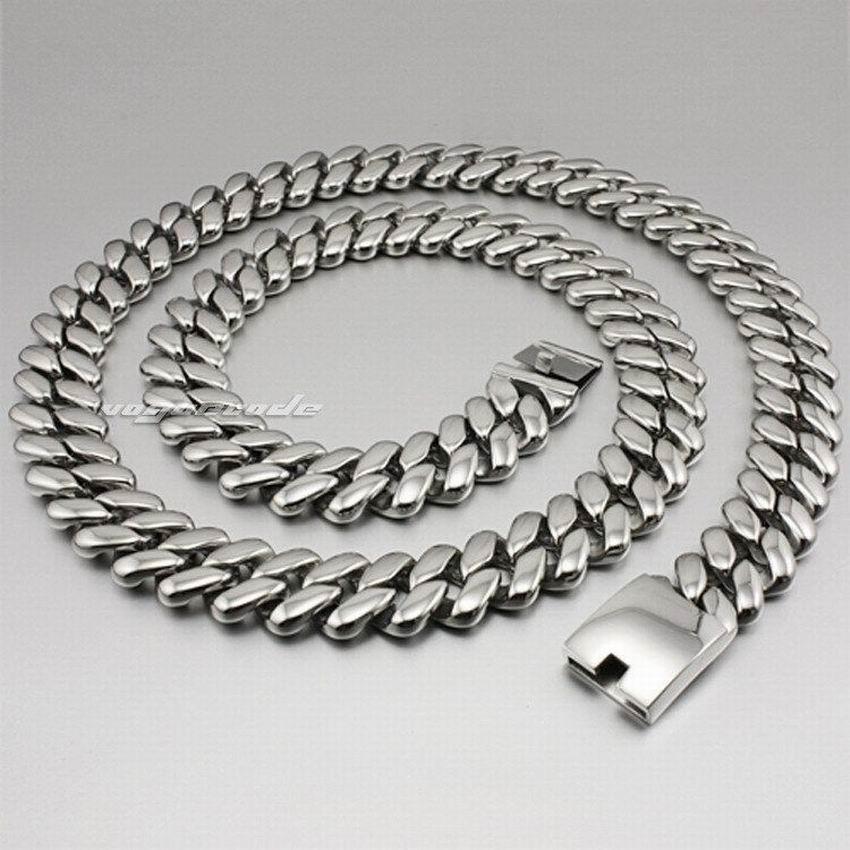 LINSION 18 ~ 36 Huge & Heavy 316L Stainless Steel Mens Biker Rocker Punk Necklace 5D007N linsion 18 36 huge