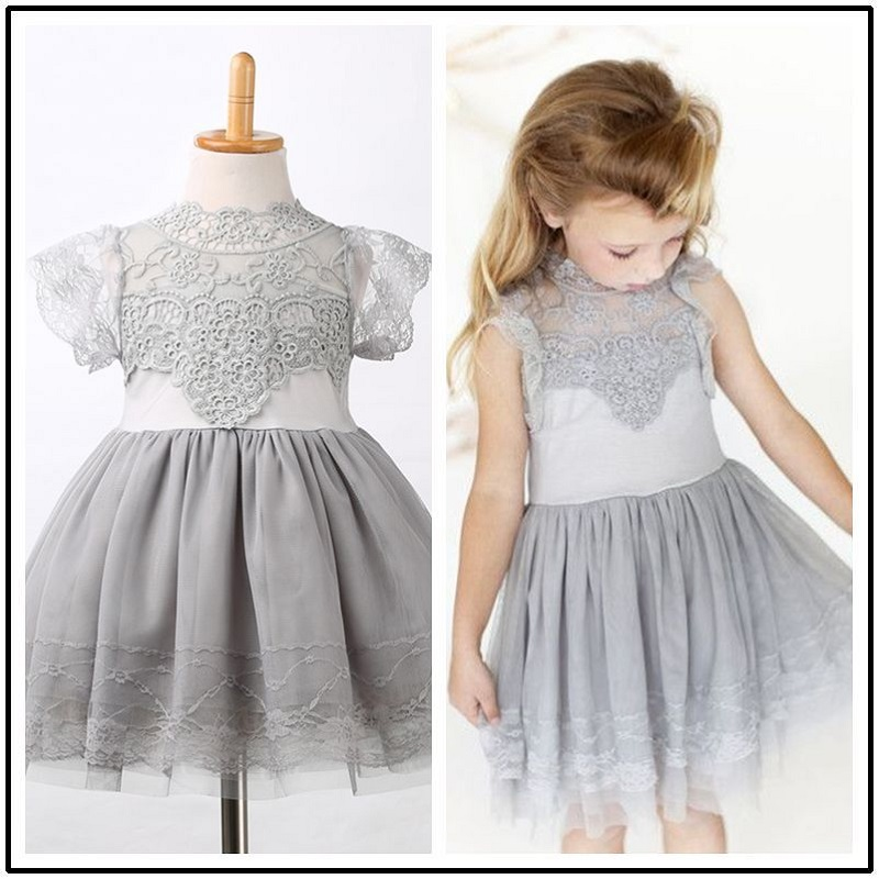 2016 Girls Princess Wedding Party Dress Elegant Lace Floral Tulle Dresses Baby Girl Dress High Quality цена 2017