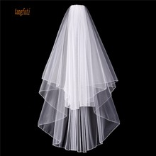 Short Wedding Veil With Comb 2-layer Penceil Edge Women Wedding Access