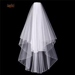 Короткая Свадебная вуаль с расческой 2-слойная загнутая кромка женские свадебные аксессуары белая слоновая кость Свадебные вуали