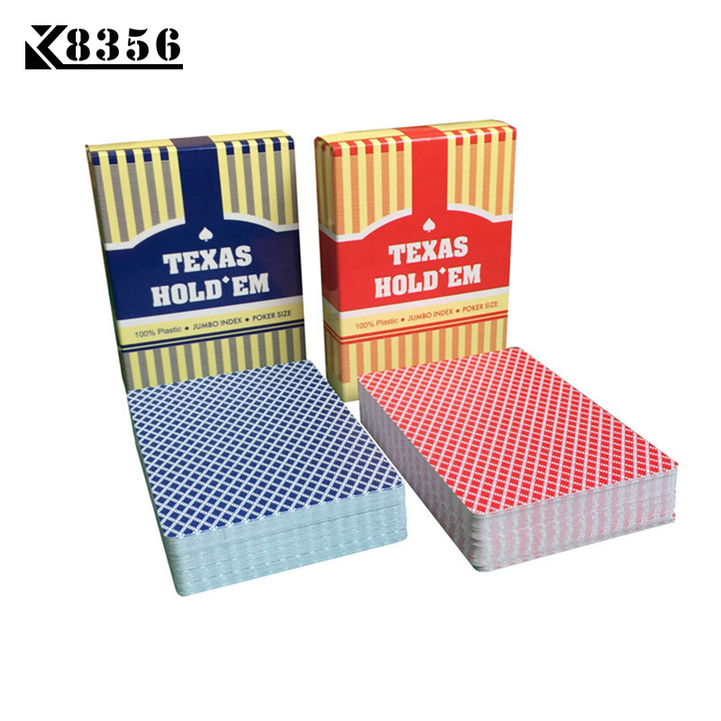 K8356 BARU HOT 2 Sets / Lot Baccarat Texas Hold'em Plastik Bermain Kartu Papan Permainan Poker Tahan Air Frosting 2.48 * 3.46 inch