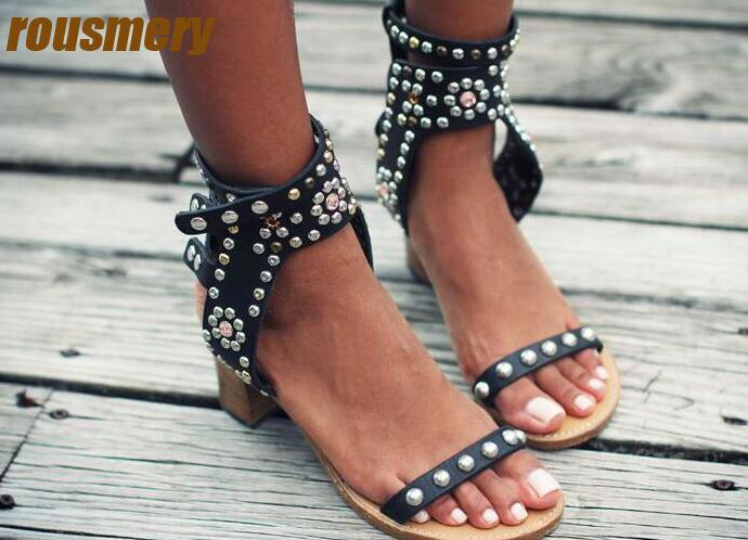 Fashion Studs Open Toe Women Sandals Luxury Crystal Ankle Straps Ladies Sexy High Heels Bohemia Style Female Dress Shoes Size 41  new fashion rivet hollowed out women sandals round toe chunky high heels ankle buckle female sandals mesh ladies leisure shoes