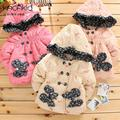 Retail baby girls autumn winter warm cotton-padded flroal coat kids jackets with bow 1288