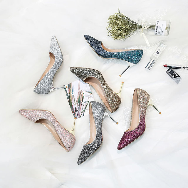 4aab87b5fd84 Women silver wedding shoes crystal shoes sequins high heels leather  stiletto pointed women s shoes bridesmaid bridal banquet