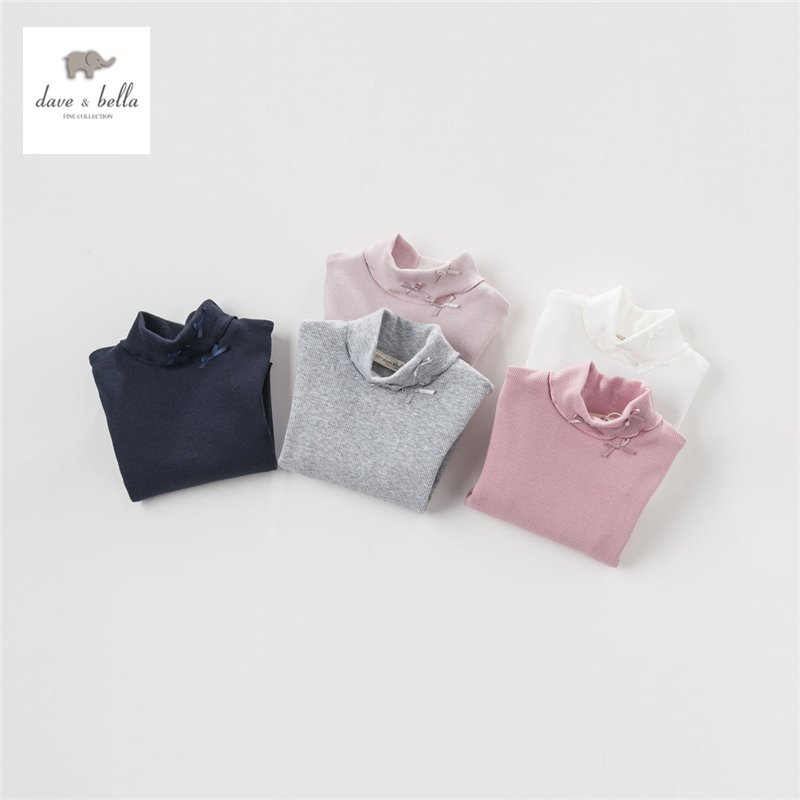 DB3643 dave bella  autumn new baby girl white boutique t shirt  infant clothes girls cute T-shirt baby tee girl tops
