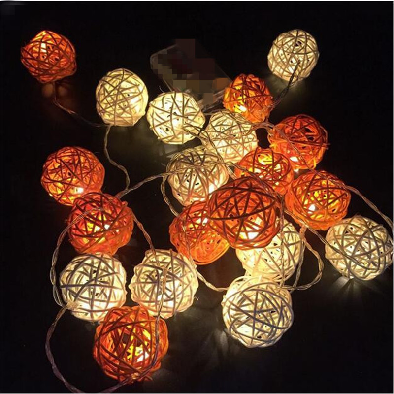 4m 20LED Xmas Light Outdoor Indoor 4cm Decorative White/Orange Rattan Ball Led String Fairy Light Garland Luces Led Para Fiestas