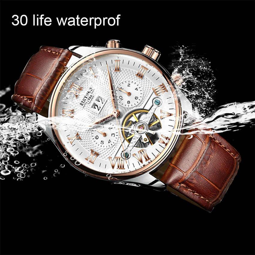 KINYUED Skeleton Tourbillonนาฬิกาผู้ชายอัตโนมัติClassic Rose Gold Leather Mechanicalนาฬิกาข้อมือนาฬิกาReloj Hombre 2020