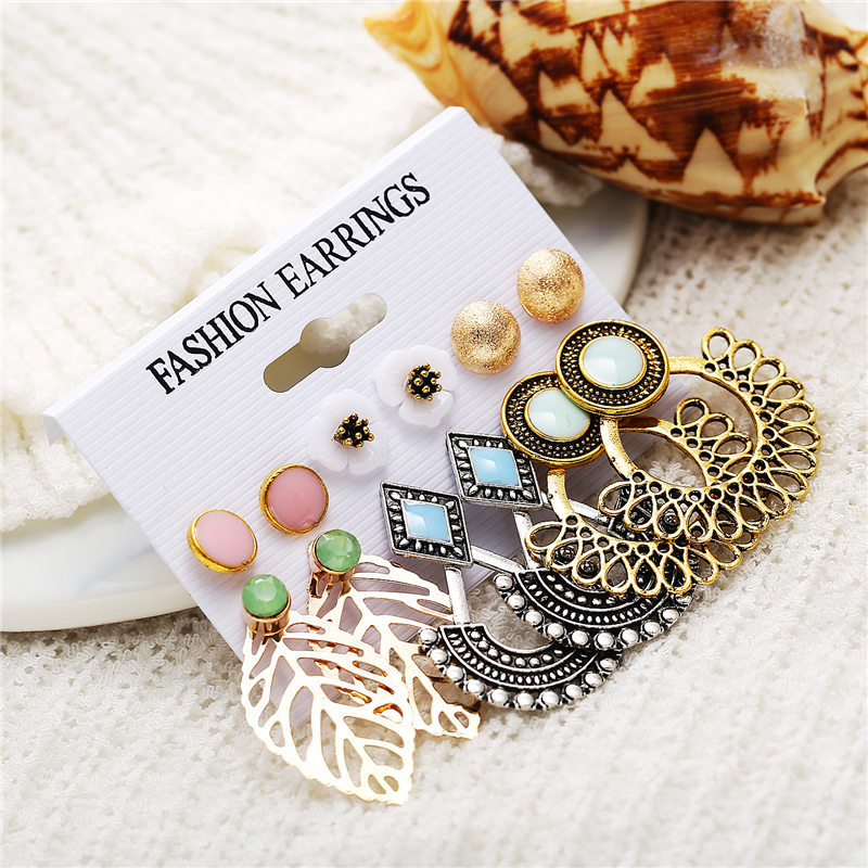 Vintage Stud Earrings Set Mixed for Women  4