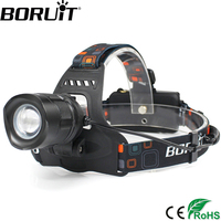1 Pcs Wholesale Black 2000LM Led Headlamp Cree XMLT6 Rechargeable Zoomable Led Headlight USB POWER BANK