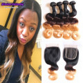 peruvian virgin hair ombre lace closure with four  bundles four tone ombre hair blonde with closure virgin hair halo hair